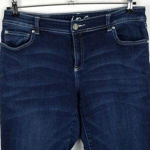 INC Womens Blue Jeans Chrystals Size 12S Boot Leg
